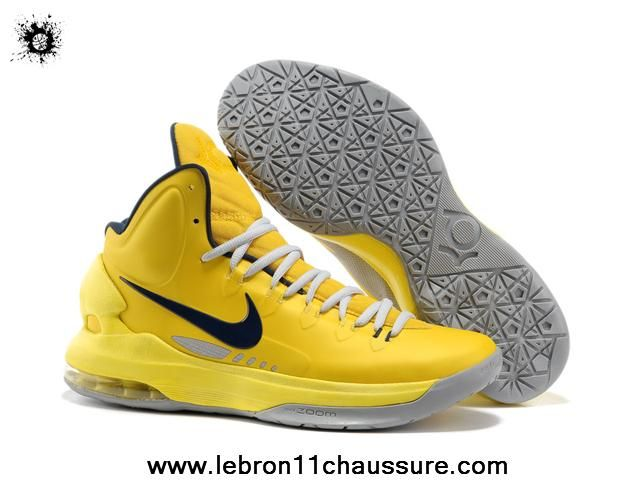Discount Yellow Grey 554988 700 Nike Zoom KD V Basketball Shoes Store