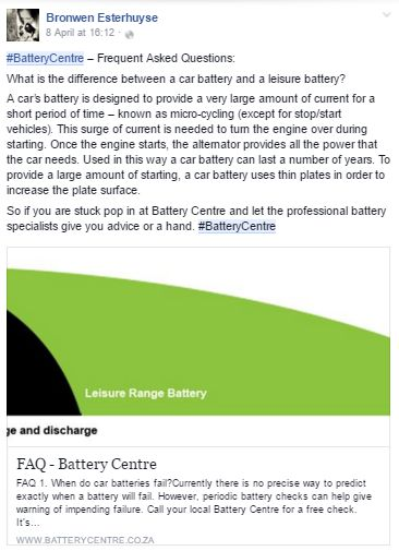 Screenshot from one of our #BatteryCentre drivers. #InfluencerMarketing #WordOfMouthAdvertising