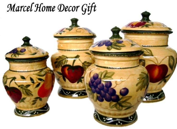 Decorative Canister Sets Kitchen Home Decor Tuscany Fruit Design Canister Set