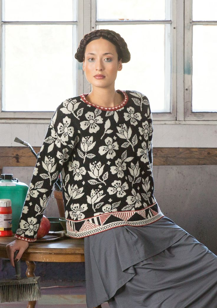 "Gudrun Sjoden - ""Luisa"" sweater in recycled wool, Snug and soft woollen sweater knitted in the lovely ""Luisa"" jacquard pattern"