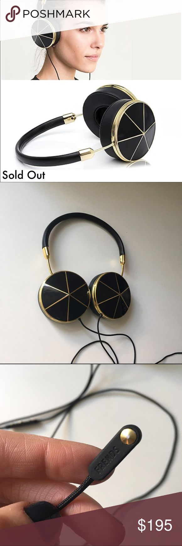 """FRENDS Taylor Black and Gold Leather Selling because I want a different color. They are excellent condition & I will clean before sending!                                                                                   ABOUT FRENDS: Three-button mic with volume, music and phone controls Adjustable, genuine leather headband.                 Collapsible to fit in bag Memory foam ear cushions: can comfortably be worn with earrings  42""""fabric-covered cord minimizes tangling Premium 360 degree…"""