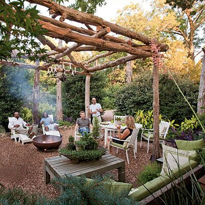 Contrary to what you may think, dinky decks and cramped patios make tight spaces seem even smaller. Marquette crafted his arbor from cedar posts set atop concrete pads. Drawing inspiration from a lone cedar tree that grew in his backyard, the resourceful designer got posts from area tree-trimming companies to build the 12- by 12-foot structure that covers his entire patio space.