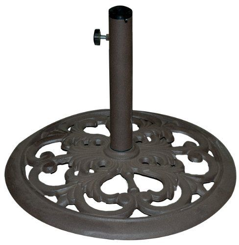 """TropiShade 30-Pound Bronze Powder-Coated Cast Iron Umbrella Stand by TropiShade. Save 30 Off!. $69.99. 20-inch in diameter. Euro deco styled pattern. Cast iron umbrella base wieghs 30 pounds with a bronze powder-coating.. 2 pole thumb screws secure umbrella in base. Base is compatible with 1 3/8"""" and 1 1/2"""" umbrella poles.. Enjoy outdoor lifestyle with this attractive antique bronze umbrella base. At 50 lbs. This umbrella stand is great for most applications. Simple and easy to use this..."""