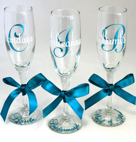6 Personalized Champagne Flutes (Glitter and Non Glitter Available) - Personalized Wedding Glasses