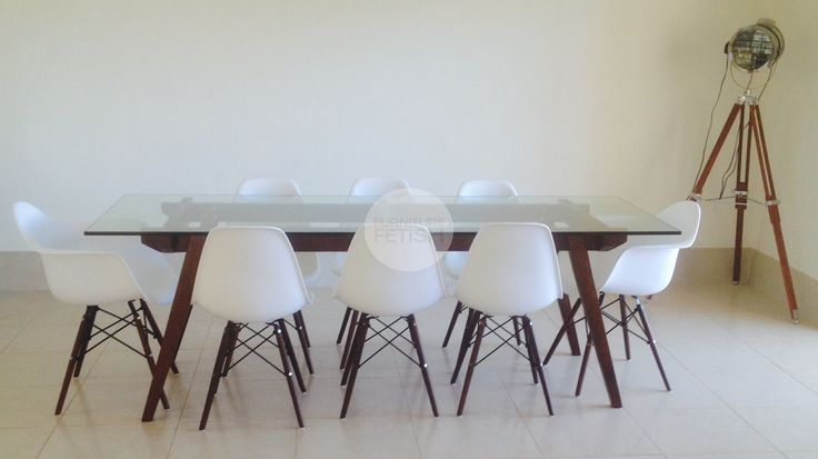 Replica Sticotti Glass Dining Table - Walnut Replica Eames DSW Dining Chairs - White with Walnut Legs Replica Eames DAW Dining Chairs - White with Walnut Legs