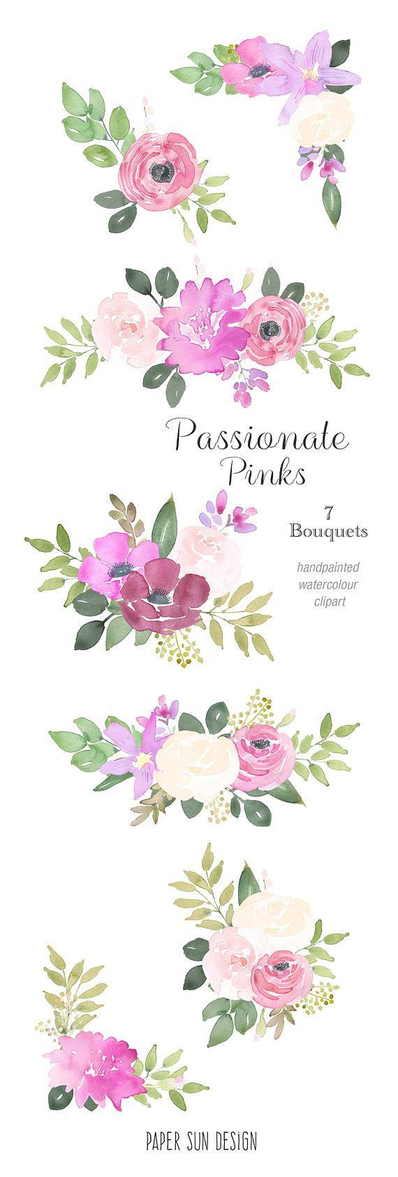 Watercolour Flower Clipart 7 Bouquets Pink Rose