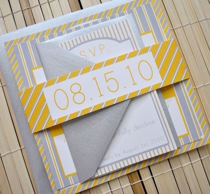 Love The Date Wrap: Augusta Wedding Invitation Suite Yellow, Grey Silver  White By Angie