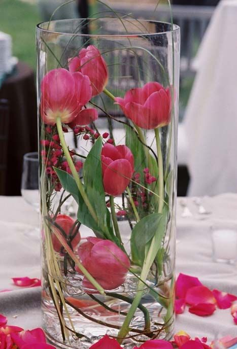 Beautiful Spring centerpiece at a Flower Gallery of Asheville Wedding