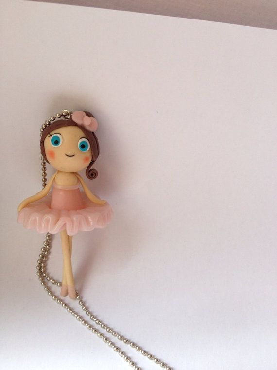 Polymer clay cute ballerina necklace with pink dress