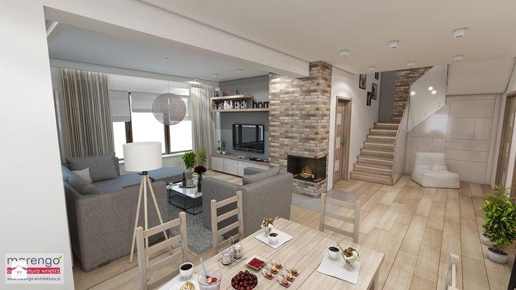 Nowoczesny dom pod Myślenicami - Średnia otwarta jadalnia w salonie, styl nowoczesny - zdjęcie od marengo-architektura