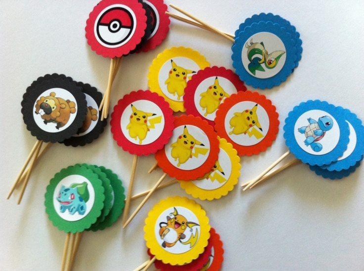 Pokemon cupcake toppers I made for a client