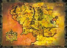 Póster Mapa Tierra Media. El Señor de los Anillos Estupendo póster con la imagen del mapa de la tierra media de la película el Señor de los Anillos.