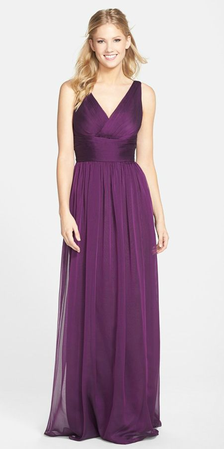 Purple chiffon bridesmaid dress by Monique Lhuillier with v neckline