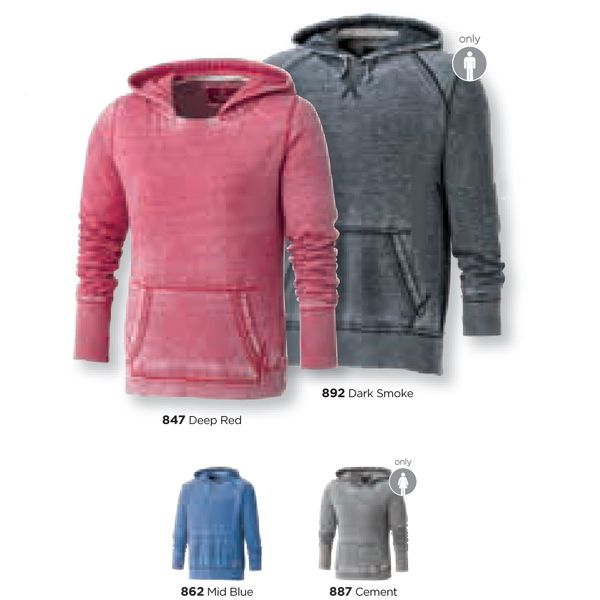 Men's Lakeview burnout fleece kanga hoody features a front kangaroo pouch pocket, rib knit sleeve cuffs and body hem. Contrast inner neck tape and coverstitching on seams. Made from 55% Cotton  / 45% Polyester burnout fleece. Approx. weight 190 g/m2 (5.6 oz/yd2). Contrast: 81% Polyester / 19% spandex 2 x 1 rib knit sleeve cuffs and body hem. Modern fit. Decorate with our standard decoration locations or go bold and try our impact decoration locations. For a visual, see the back of our ca...