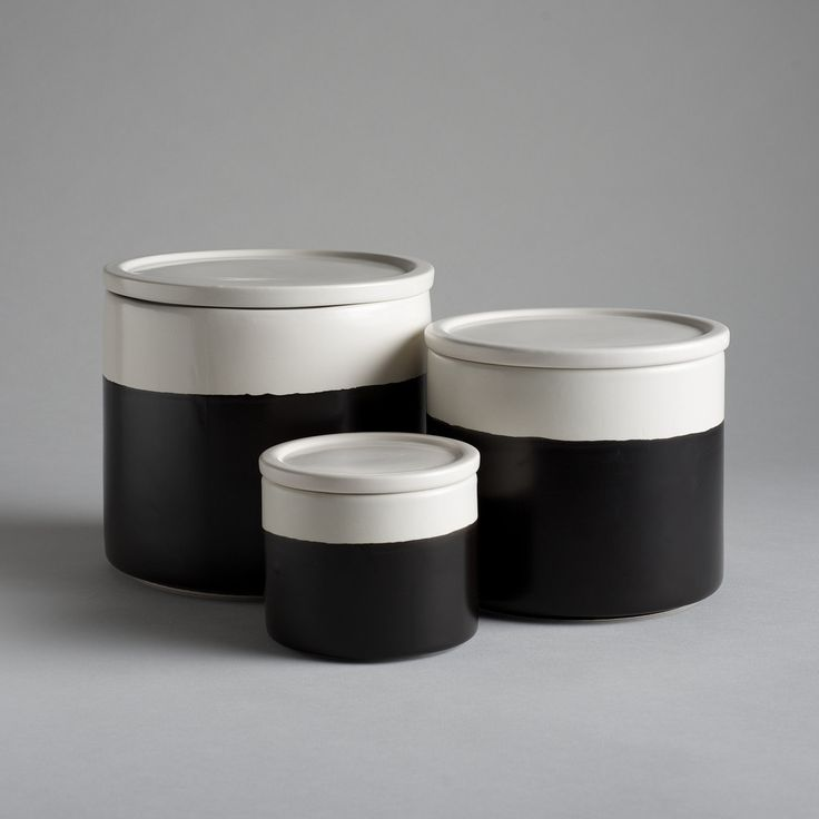 Ceramic Jars – Black Chalkboard on White