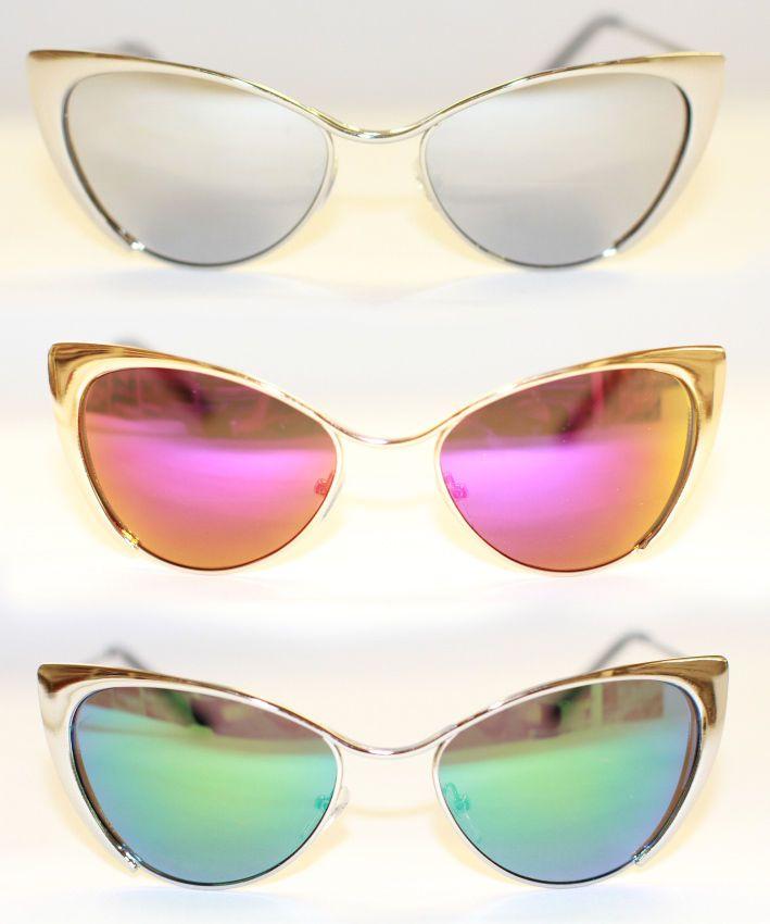Cat Eye Sonnenbrille voll metall gold silber Rockabilly 50 s verspiegelt 974 RAR