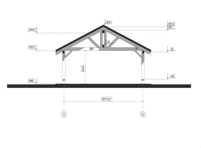 """20""""x22' (474sq.ft) HEAVY TIMBER CARPORT FOR TWO VEHICLES ..."""