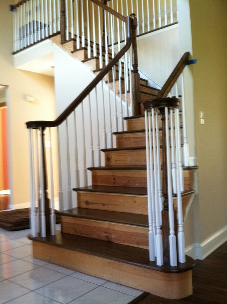 Best After The Stair Treads Being Replaced With Solid Red Oak Treads Waiting To Paint Risers White 400 x 300