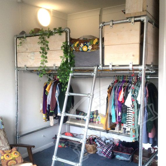 High Platform Bed with Clothes Storage. Made to by RatAndPallet                                                                                                                                                     More