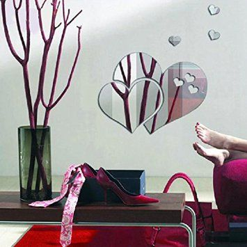 Walplus - Specchi decorativi da parete, a forma di cuori astratti, colore argento: Amazon.it: Casa e cucina