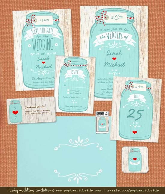 mint and red mason jar wedding invitations by Poptastic Bride - http://poptasticbride.com/2013/01/hand-drawn-mason-jar-wedding-invitations/ #masonjars #weddinginvitations #rusticweddings