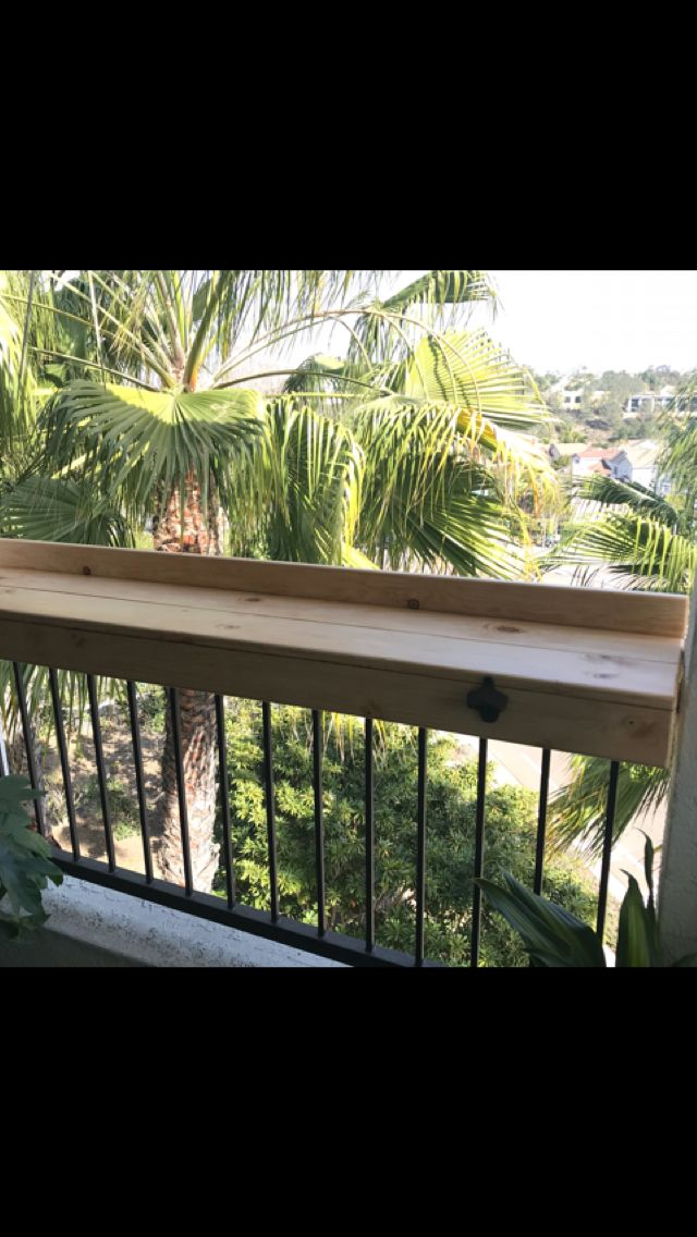 Railing Shelf For Apartment Patio Or Deck Strong Enough To Lean On And Hold Drinks