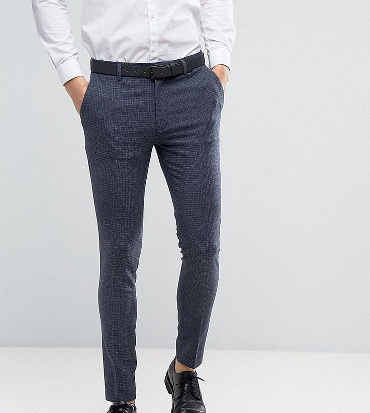 ASOS TALL WEDDING Super Skinny Suit Pants in Blue Mini Check - Blue