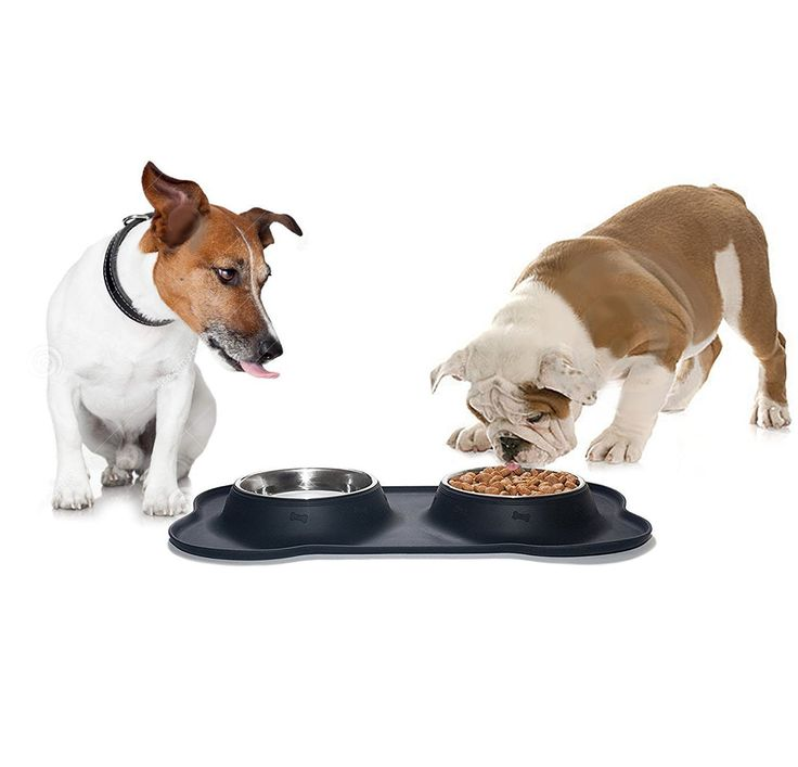 BEE Dog Bowls Stainless Steel Dog Bowl Dog Bone Shape Silicone Pet Bowls with No Spill Silicone Mat Best Dog Bowls for Feeding Dogs Cats Puppies. -- Want to know more, click on the image. (This is an affiliate link and I receive a commission for the sales)