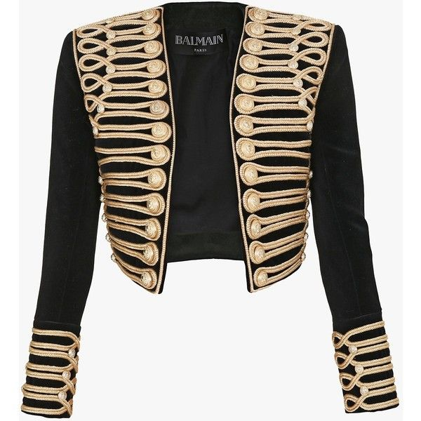 Cropped appliqued jacket | Women's blazers | Balmain ($5,615) ❤ liked on Polyvore featuring outerwear, jackets, blazers, balmain, tops, balmain blazer, cropped blazer jacket, cropped jacket and balmain jacket