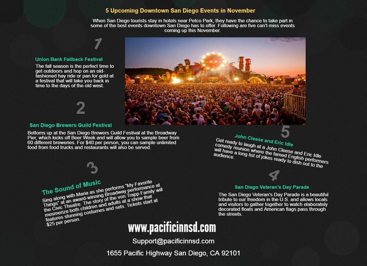When San Diego tourists stay in hotels near Petco Park, they have the chance to take part in some of the best events downtown San Diego has to offer. Following are five can't-miss events coming up this November. http://pacificinnsd.blogspot.com/2016/11/5-upcoming-downtown-san-diego-events-in.html