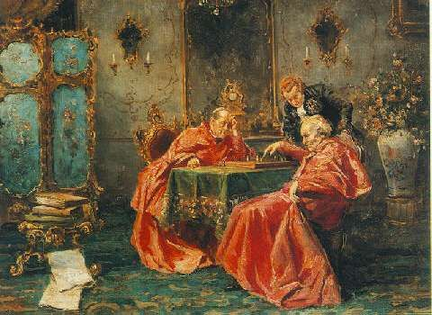 SALVADOR SANCHEZ BARBUDO (SPANISH, 1858-1919) A GAME OF CHES