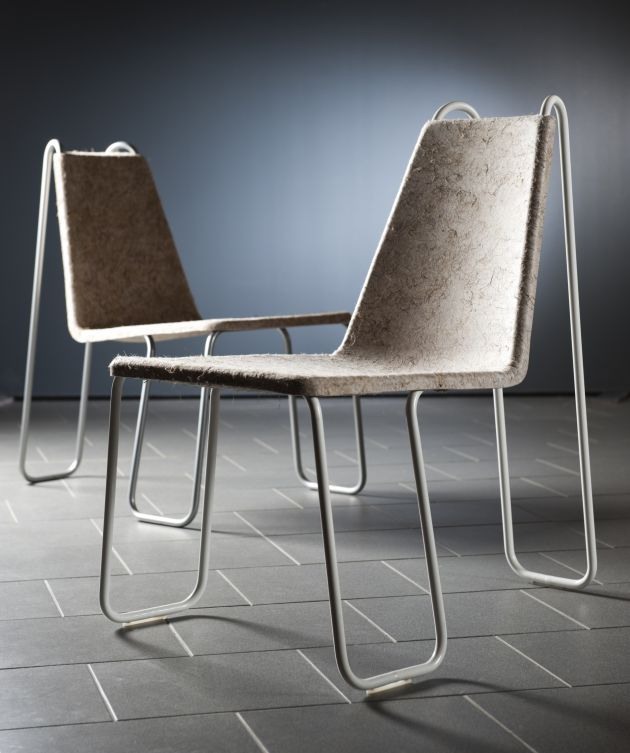 Finnish designer Timo Hoisko has created the Farmline chair out of a single metal tube and locally-produced hemp fiber.