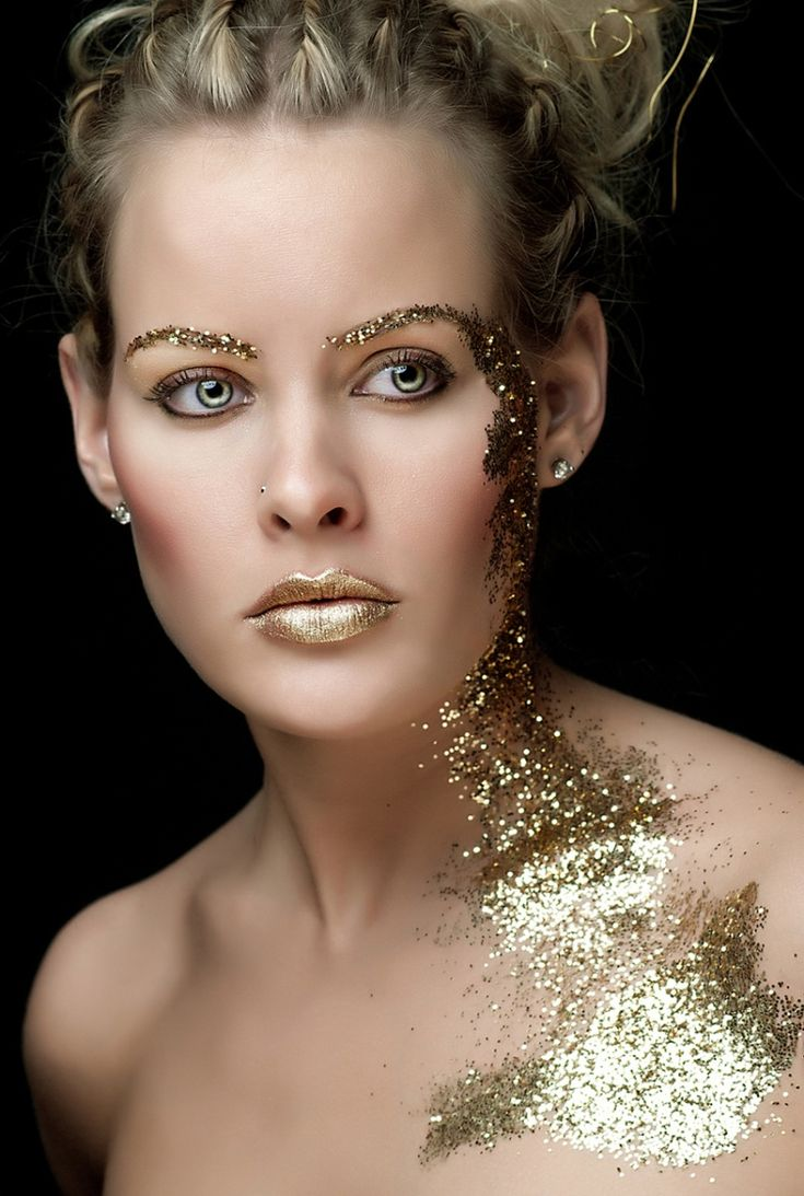 Sparkle shine glitter hair and makeup feathers shimmer - Gold Makeup Going Down The Chest