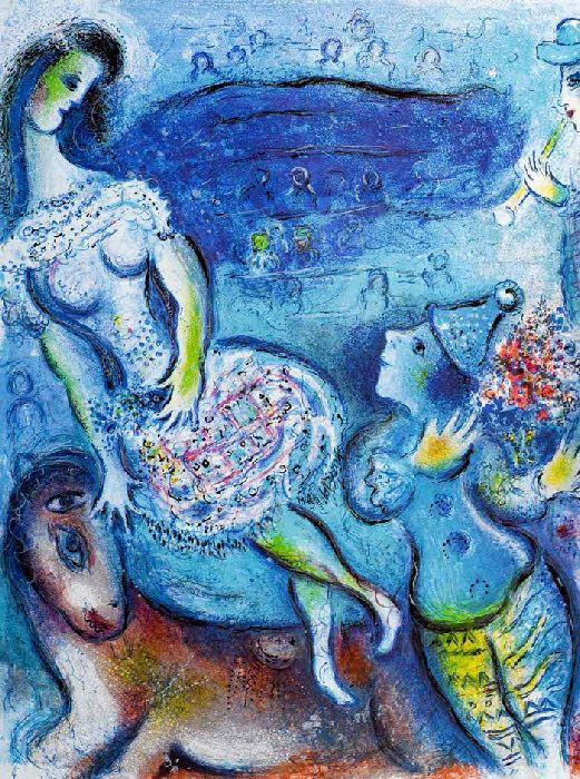 "Marc Chagall, Le Cirque (L'Ecuyère et le clown amoureux), 1967. ""Le Cirque"", Lithograph in colours, 1967, on Arches paper, published by Éditions Verve. S. 42,3 x 32,8 cm."