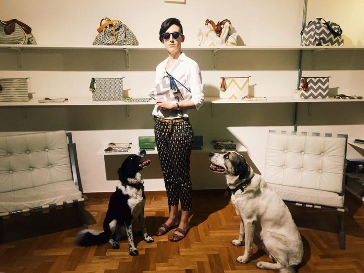 One of our everlasting muses, the super stylish Katia Bolola poses among Chiro and Geppetto with her brand new Zigzag Piz Clutch!