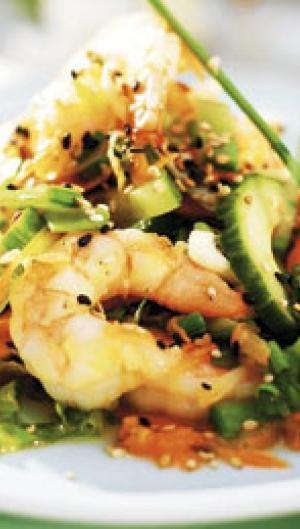 Eksotisk salat med tigerrejer og dressing | ISABELLAS