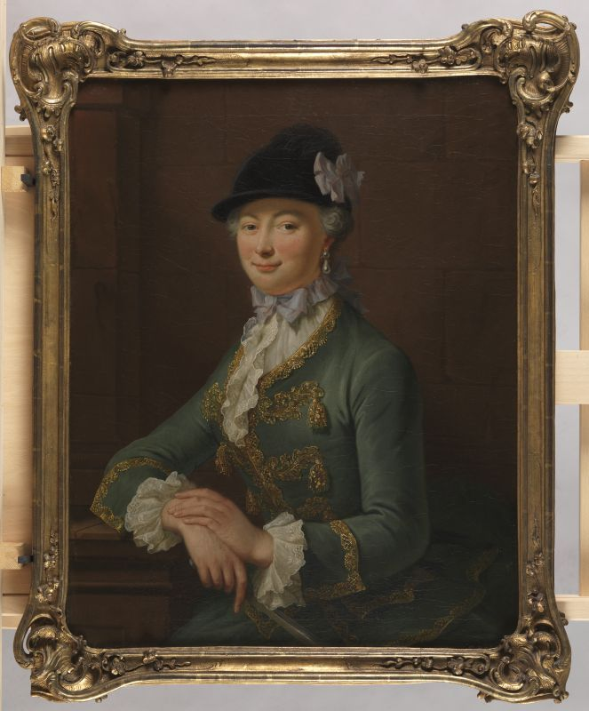 Portrait of Johanna Elisabeth von Schmerfeld, Johann Heinrich Tischbein, oil on canvas, c. 1780 (Or possibly earlier given hair and dress?).