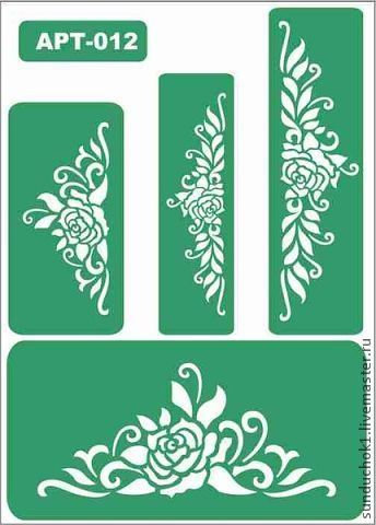 трафарет 012 - зелёный,трафарет,трафареты,Декупаж,материалы для творчества