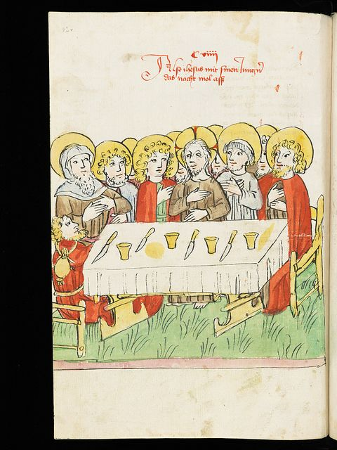 Representation of  The Last Supper in a 15th century manuscript. :Devotionale Abbatis Ulrici Rösch The devotional book of Abbot Ulrich Rosch of St. Gall contains various prayers, timetables and calendars, is decorated with elaborate initials and was written in the year 1472. Wiblingen (Germany). 15th century
