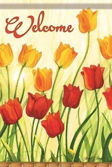 Welcome/Tulip Garden Garden Flag FlagTrends CLASSIC FLAGS