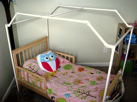 Gluesticks: PVC Framed Canopy Bed  Make it bigger for twin bed, cover with canvas to look like a camping tent!