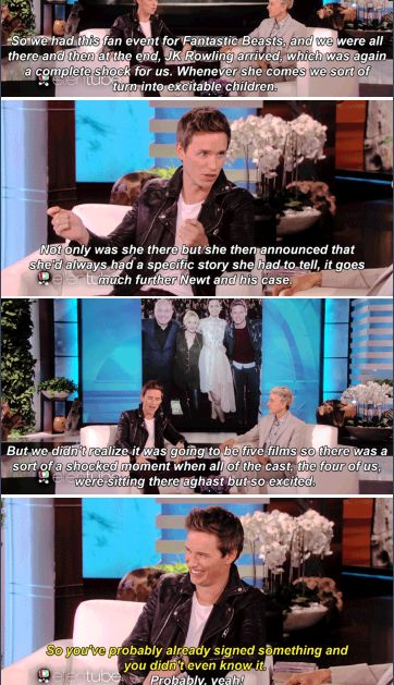 Eddie Redmayne - Fantastic Beasts and Where to Find Them - Ellen´s show The full video's on YouTube, and should DEFINITELY be watched.