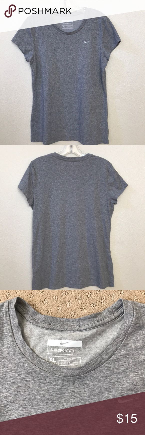 EUC Nike FitDry cap sleeved Sports Tee ladies XL Nike FitDry heathered gray cap sleeved Sports Tee ladies XL in excellent preloved condition, worn and washed once. See photos for excellent like-new condition. Treat yourself to a timeless classic. Thanks for shopping my closet. 💕 Nike Tops Tees - Short Sleeve