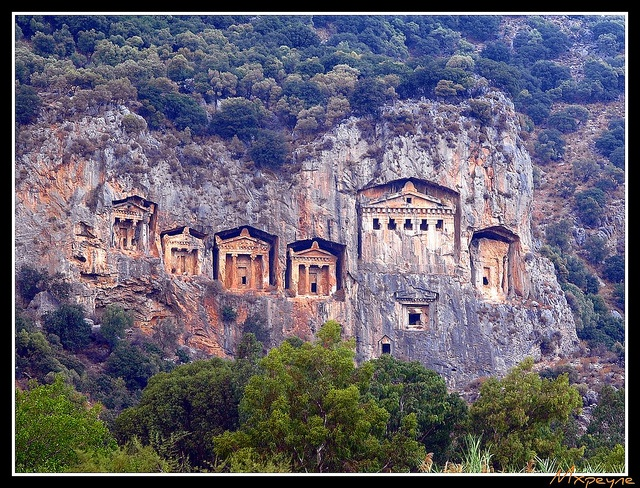 """Carian Rock Tombs"" - Dalyan, District of Marmaris, Turkey."