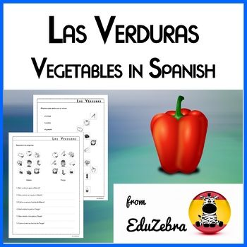 I have designed these activities for my 3rd, 4th and 5th graders. It is a fun way to learn vegetables (tomate, guisante, brócoli, remolacha, lechuga, patata, maíz, ajo, cebolla, pimiento, zanahoria, pepino) in Spanish. It includes: 1 ---> match pictures with words activity 2 ---> read and draw activity 3 ---> wordsearch 4-6 ---> three write the name of the vegetables activities 7-1, ---> three plural form activities 11-12 ---> favorite vegetable activ...