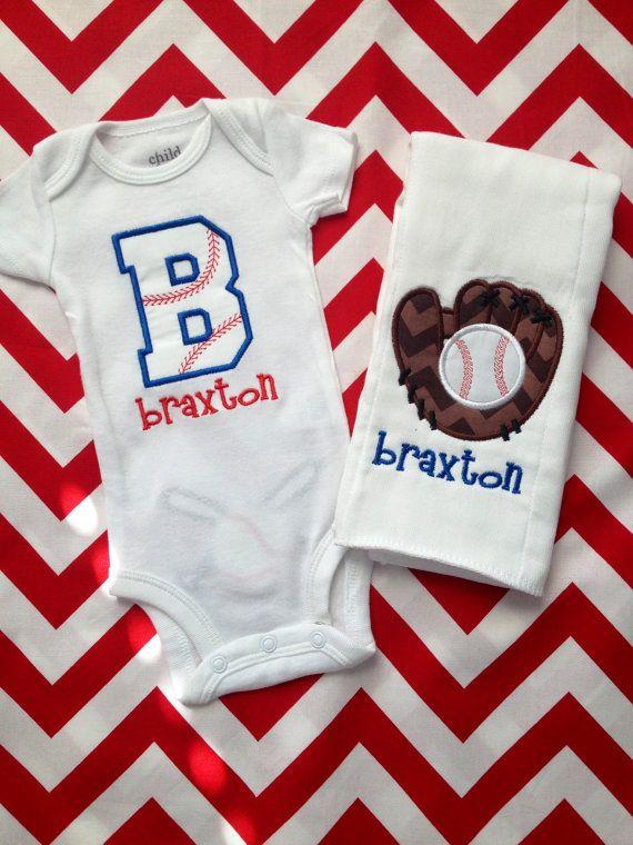 Appliquéd Baseball Baby Gift Set by LittleSewShop on Etsy, $32.00