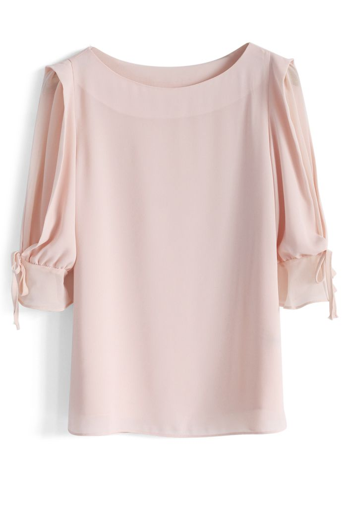 Frilling Sleeves Chiffon Top in Peach - Tops - Retro, Indie and Unique Fashion