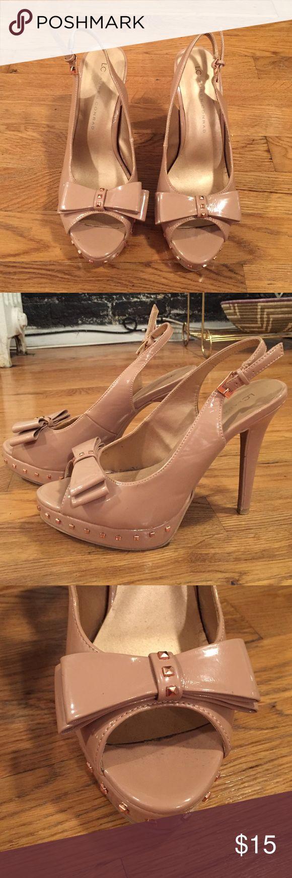 LC Lauren Conrad Nude Heels Size 8.5 LC Lauren Conrad open toe nude heels with rose gold stud embellishments and bow. Minimal wear. LC Lauren Conrad Shoes Heels