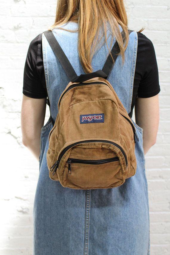 vintage Jansport mini backpack / tan corduroy by ...