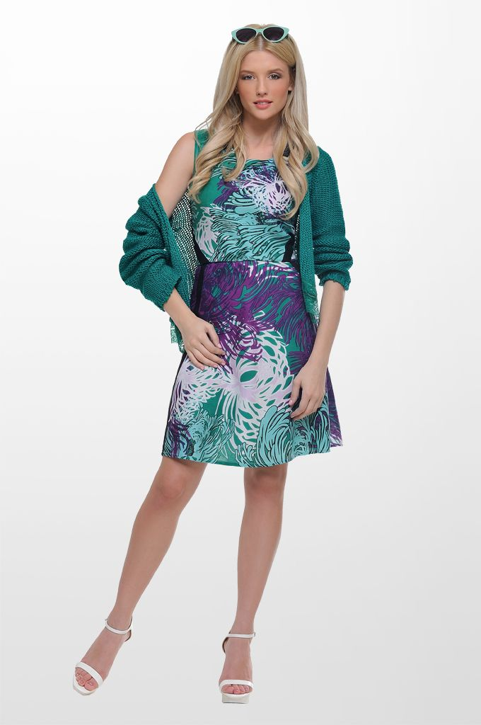 Sarah Lawrence - long sleeve knitted cardigan, A line printed dress.